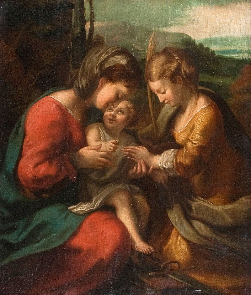 """Old Masters, """"Anna and Mary with Jesus"""", oil on wood, p"""