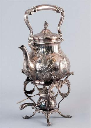 Teapot, 800' Silver, hallmarked, with warmer including