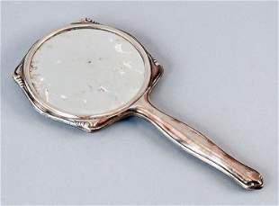 Hand mirror, silver, traces Handspiegel, versilbert,