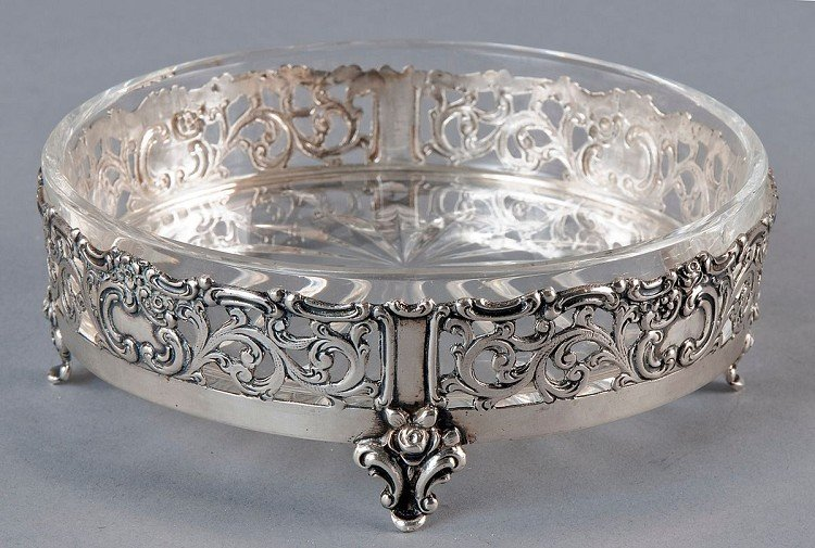 Caviar bowl, use of lead crystal, silver 835er   Kaviar