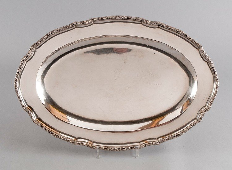 Tray, oval, large form, 800' Silver, counters: Crescent