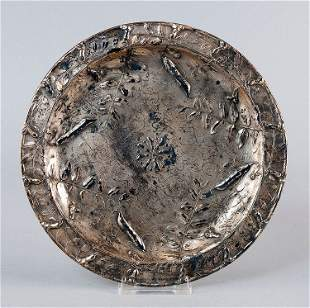 Plate, pewter plated, not punched, embossed, provided w