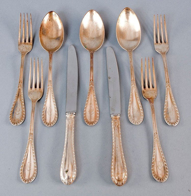 "Rest cutlery, 9-piece, 800' Silber, hallmarked ""800 L."