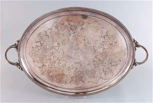 Tray, pewter, silver plated, oval, fine chasing, this p