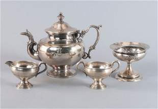Convolute, pewter, silver plated, end of 19th century .