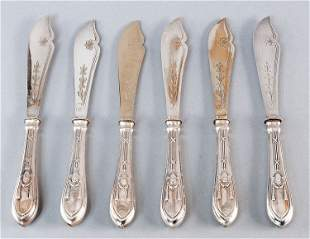 Fish-knives, 800' Silver, hallmarked. 6 pieces, Empire