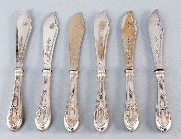 Fish-knives, 800' Silver, hallmarked. 6 pieces, Empire