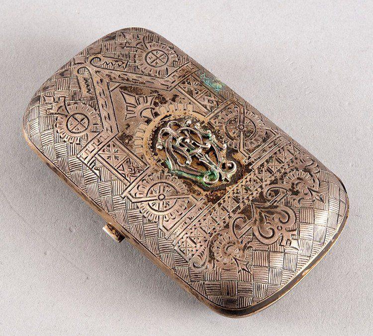 Cigarette case, 800 he gilded silver, Zolotniksilber, i