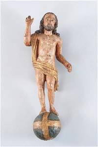 Christ, standing on ball, blessing gesture, linden wood