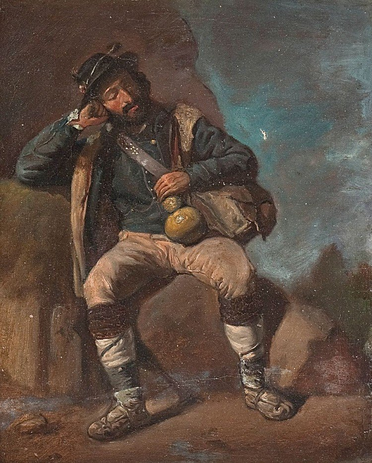 Hiker resting, Oil / Canvas, frame baroque shape, very