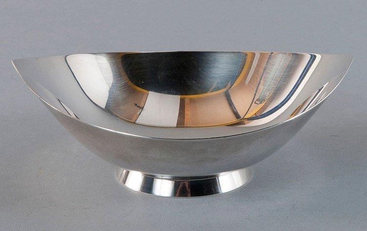 Silver bowl, oval, on annular base, modern design, silv