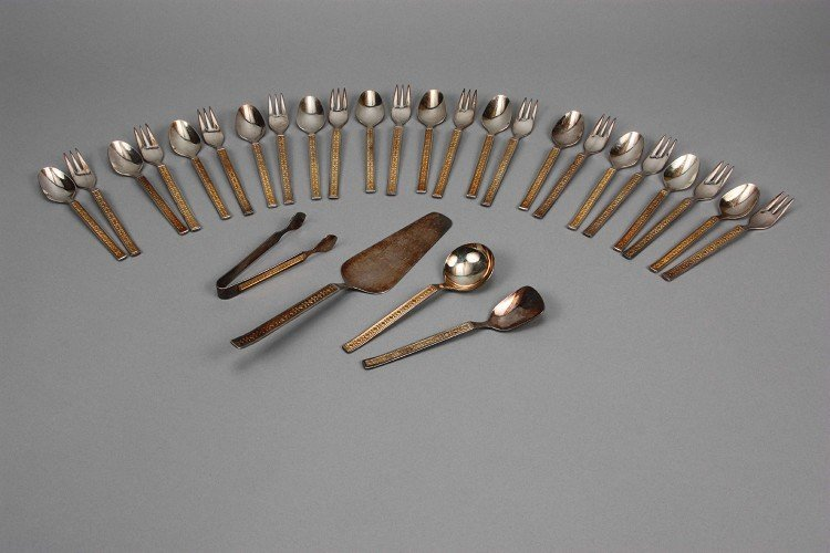 Coffee / cake cutlery set, 100'Silber, gilded, patterne