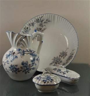 Sink, white porcelain, 4-piece, blue floral decoration