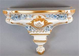 Wall bracket, porcelain, plastic flowers and rich gold