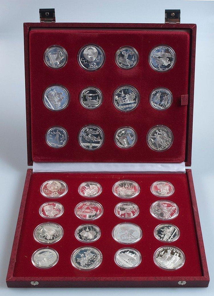 Münzkonvolut in original collector's box, XXII Olympiad