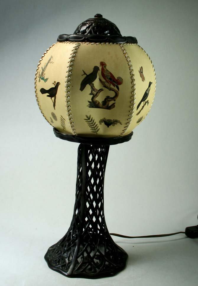 Table lamp, cast iron, blackened, Art Nouveau décor,