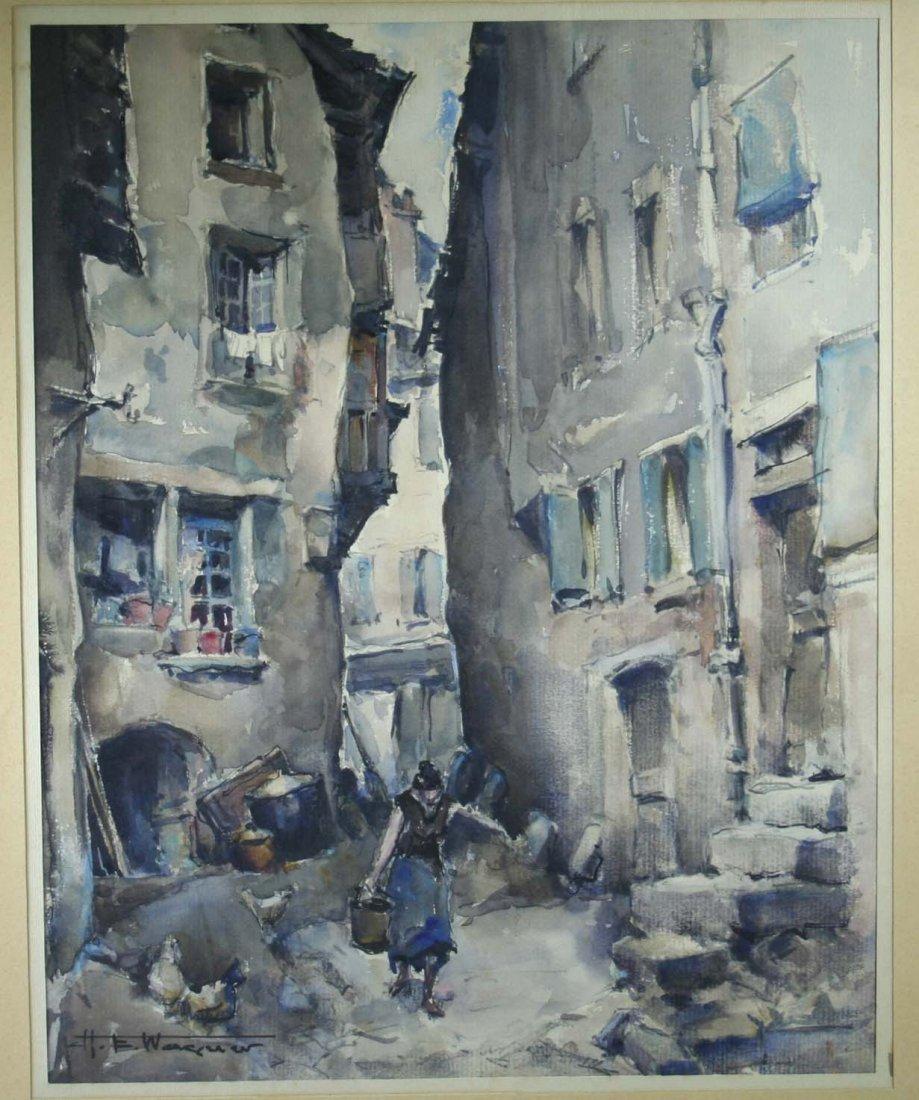"WAGNER H.E., ""Altstadt Paris"", Aquarell, li.u. sig.,"