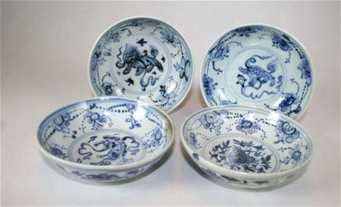 Lot of four tea cups or bowls, China, Ming dynasty