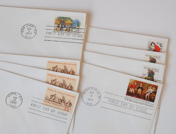 17: 9 US First Day Cover Stamps from 1977