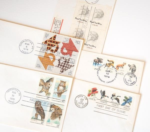 22: 10 US First Day Cover Stamp Blocks from 1978