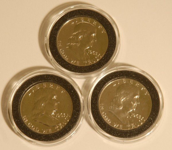 55: 3 US Mint 1963 Franklin Half Proof Dollars