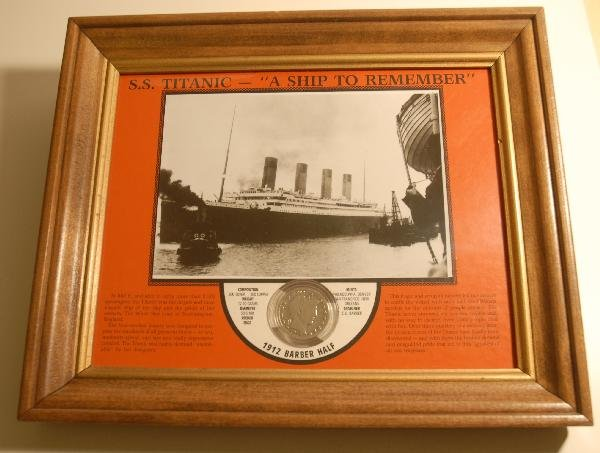62: 1912 Silver Barber Half Dollar with S.S. Titanic Ph