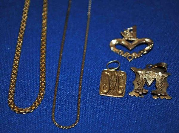 Assorted 14K Gold Jewelry 3 pendants, 2 chains (as is),