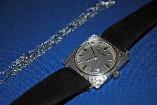 Piccard Watch and 14K White Gold Chain