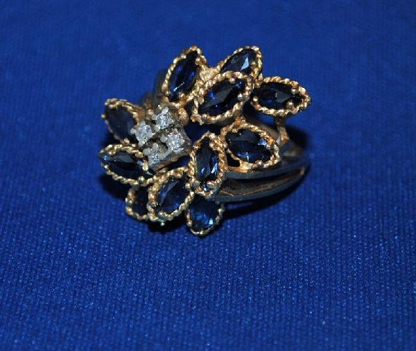 14K Sapphire and Cluster Ring