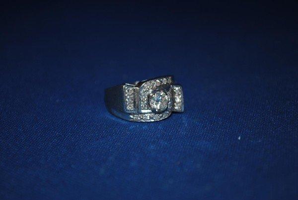 Deco Style 14K White Gold Diamond Ring