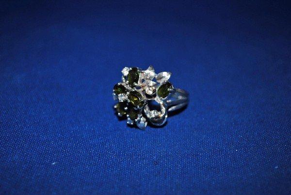 14 k White Gold Tourmaline Cluster Ring
