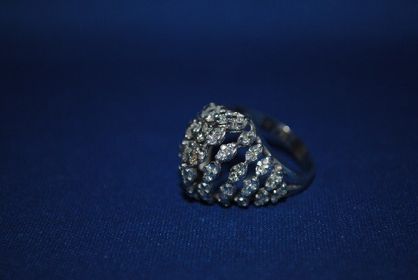 14K White Gold Diamond Dome Shape Ring