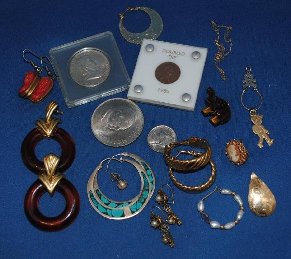 Assorted Costume and 14K Gold Jewelry & Coins