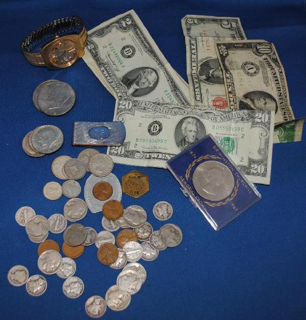 Assorted Currency, Coins, and Trinkets
