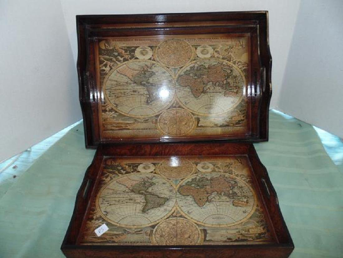 Decorative Burl Walnut Nest of Trays