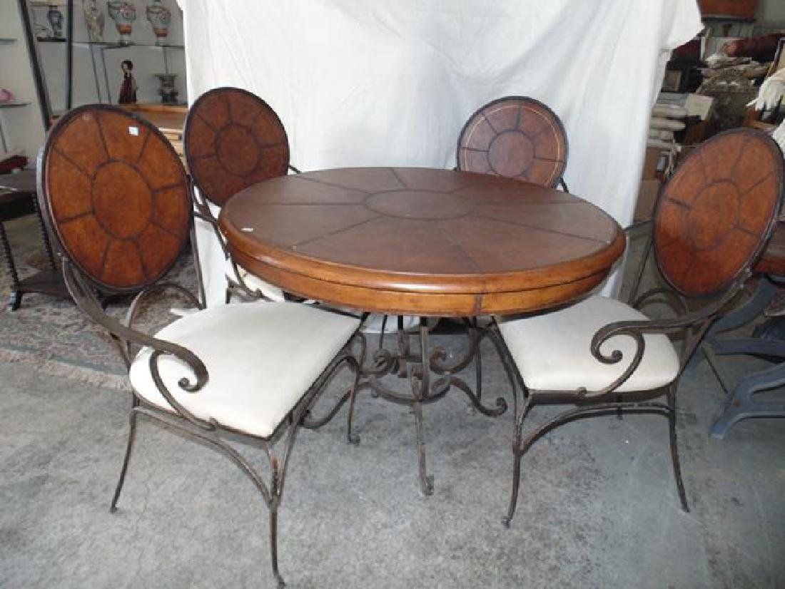 Contemporary Round Table & 4 Wrought Iron Chairs