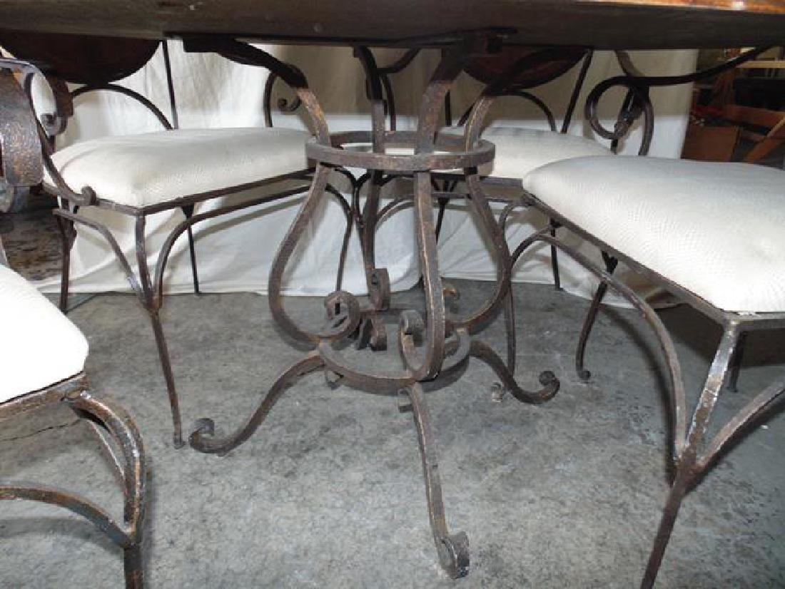 Contemporary Round Table & 4 Wrought Iron Chairs - 2