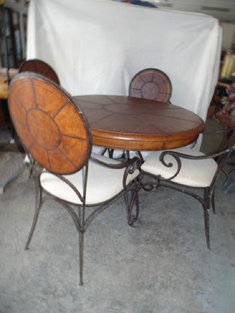 Contemporary Round Table & 4 Wrought Iron Chairs - 4