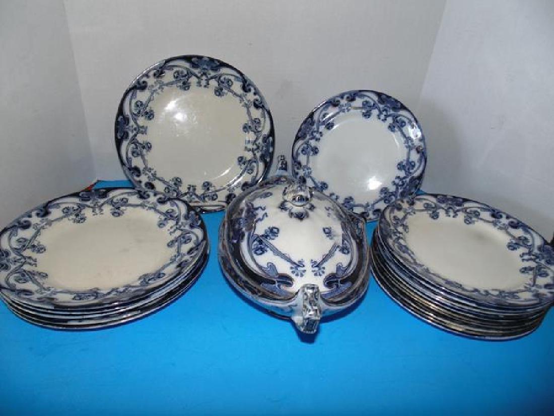 Staffordshire Iris Plates & Serving Bowl