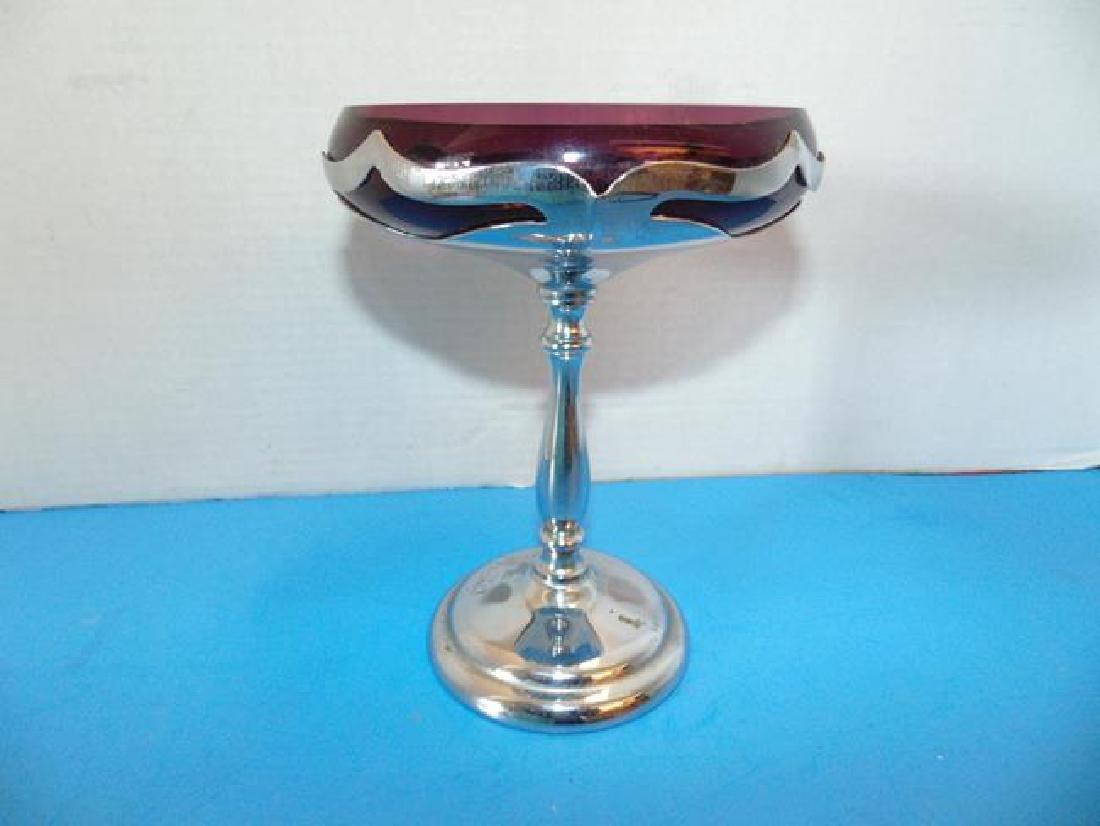 Amythest & Chrome Farberware Compote Dish