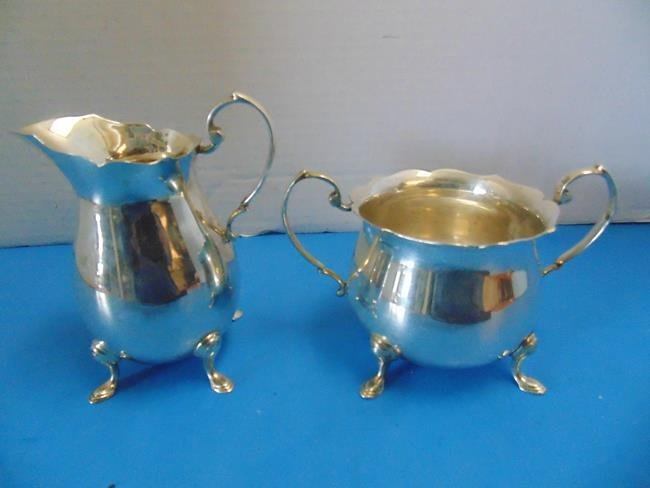 Sterling Silver Creamer and Sugar Bowl