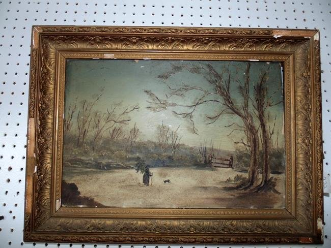 Victorian Winter Scene Oil Painting