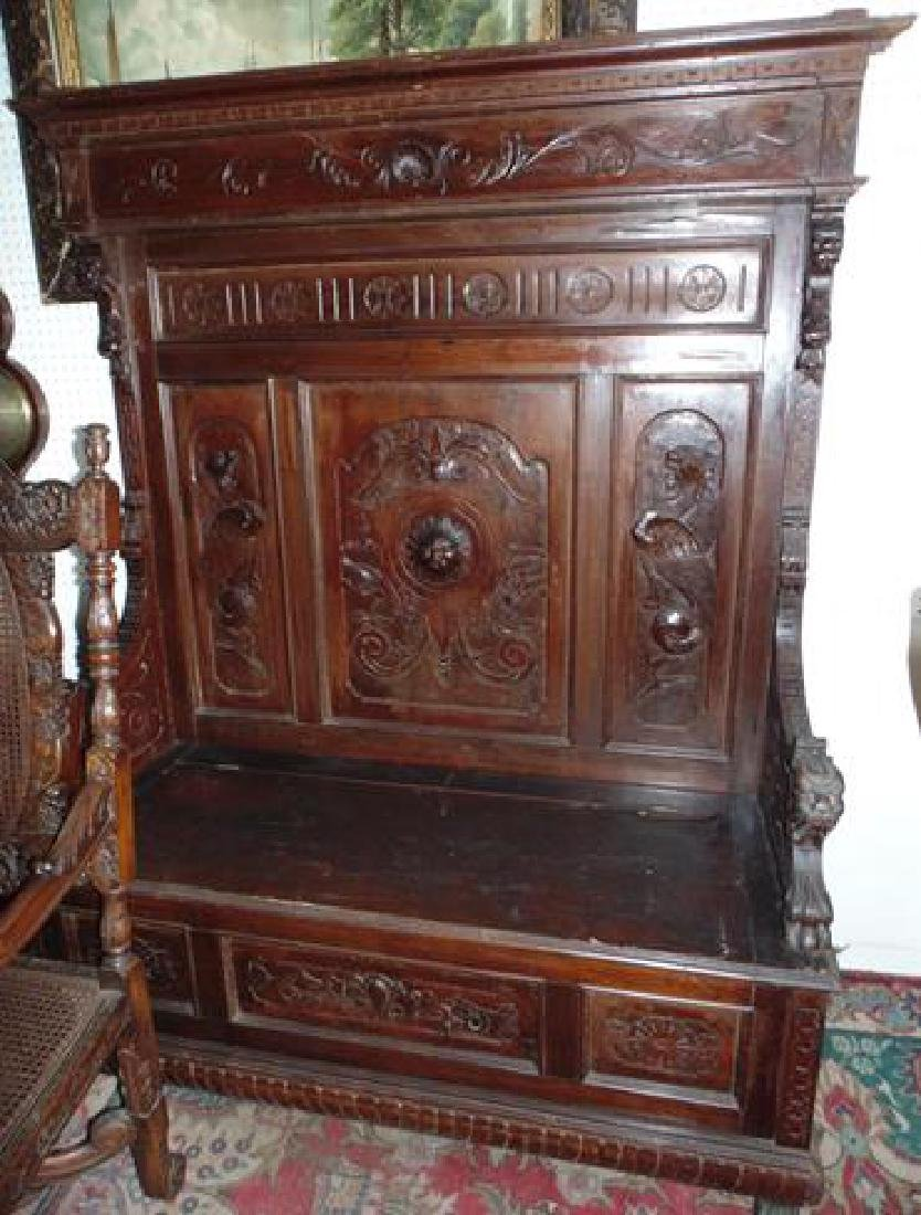 Ornate Oak Hall Seat