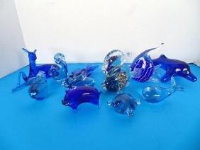Blue Glass Animal Figures
