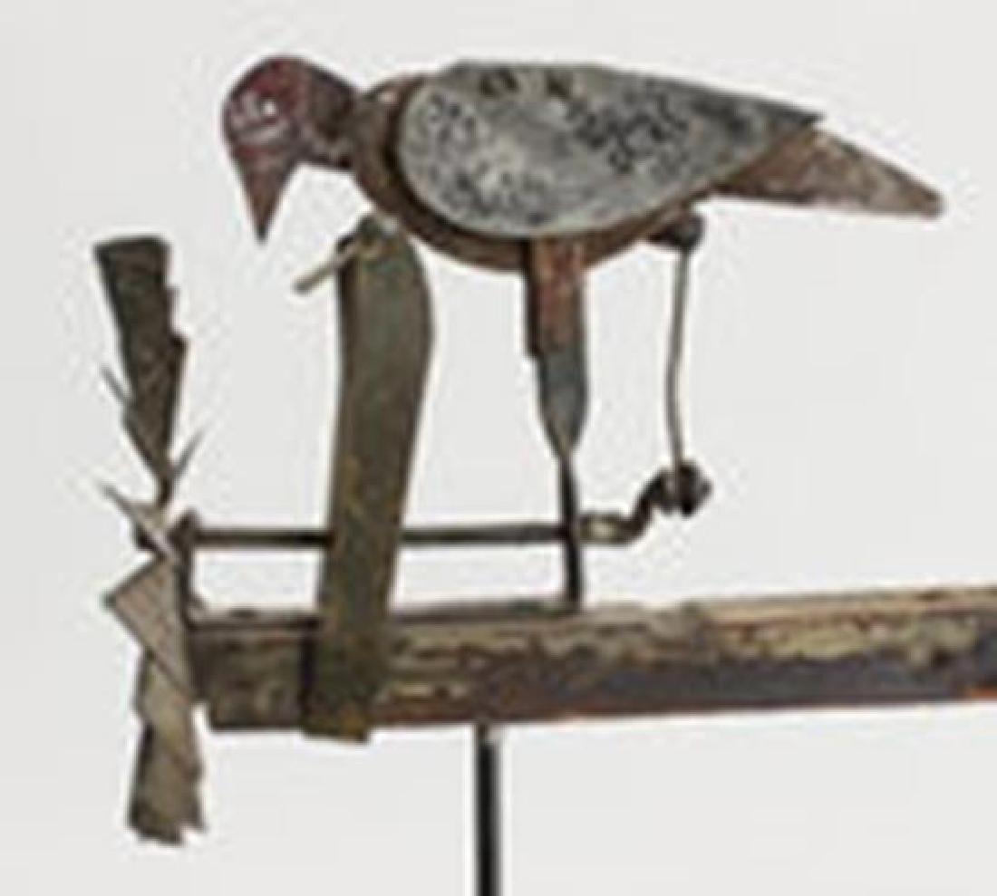 American Painted Tin Pine Bird Form Whirligig