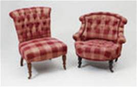 Pair of Victorian Mahogany Tufted Chairs