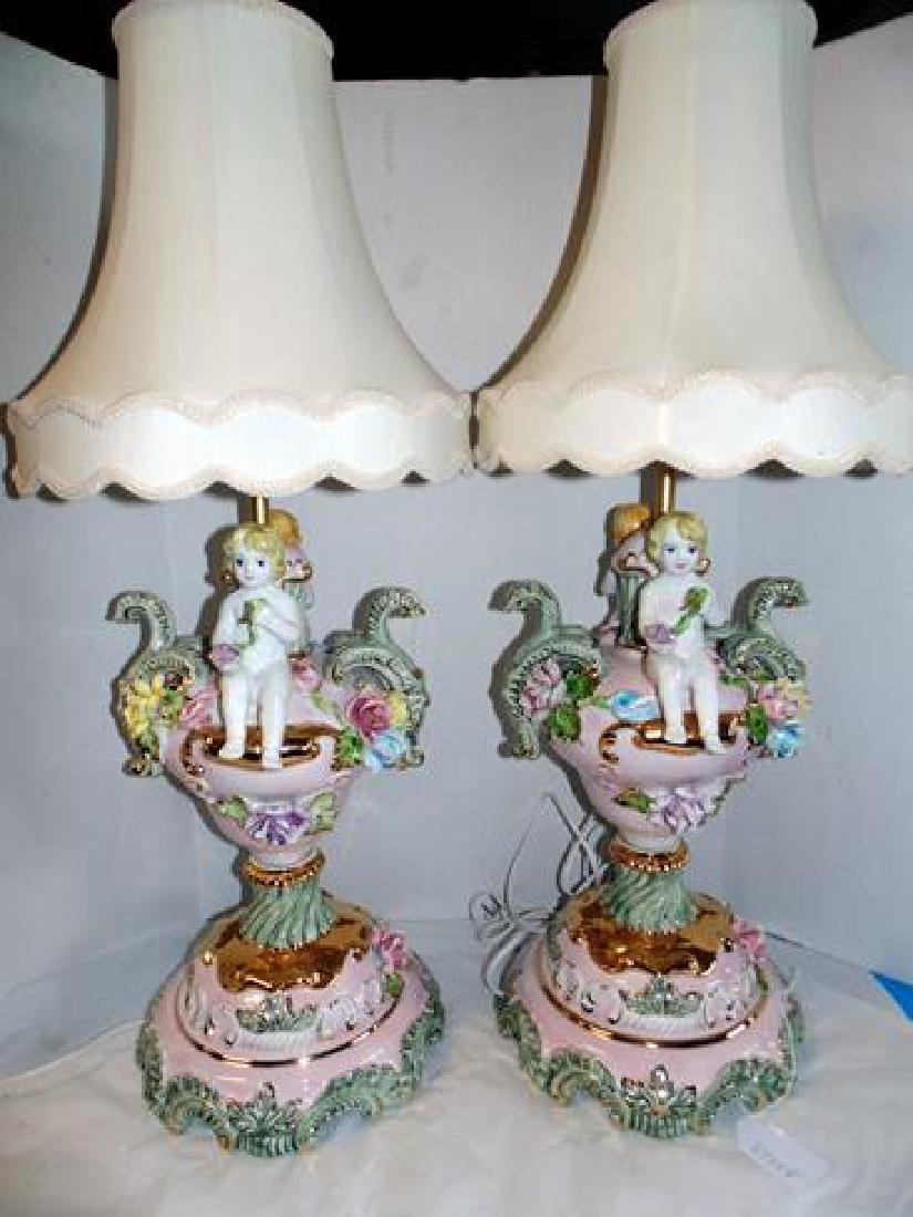 Porcelain Figural Cherub Lamps