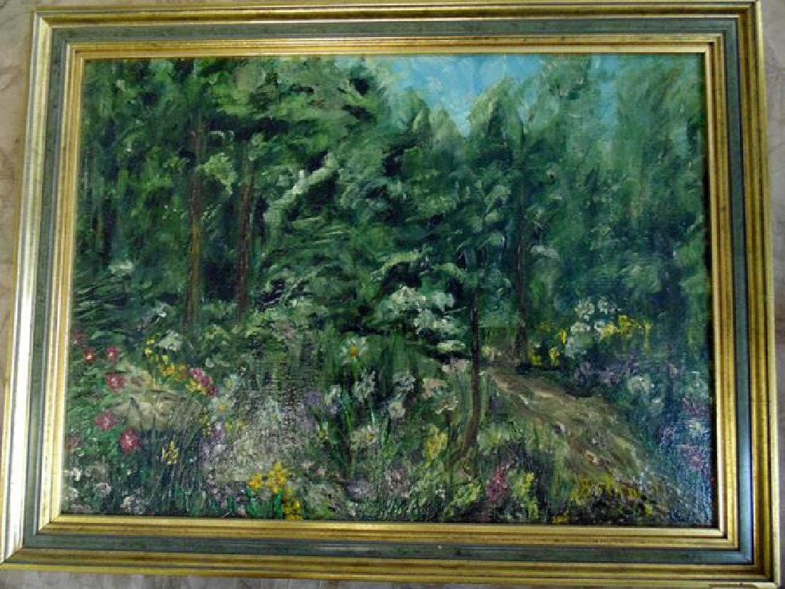 Flower Garden Signed Painting