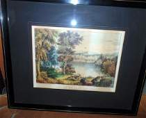 Autumn On Lake George Currier & Ives Print