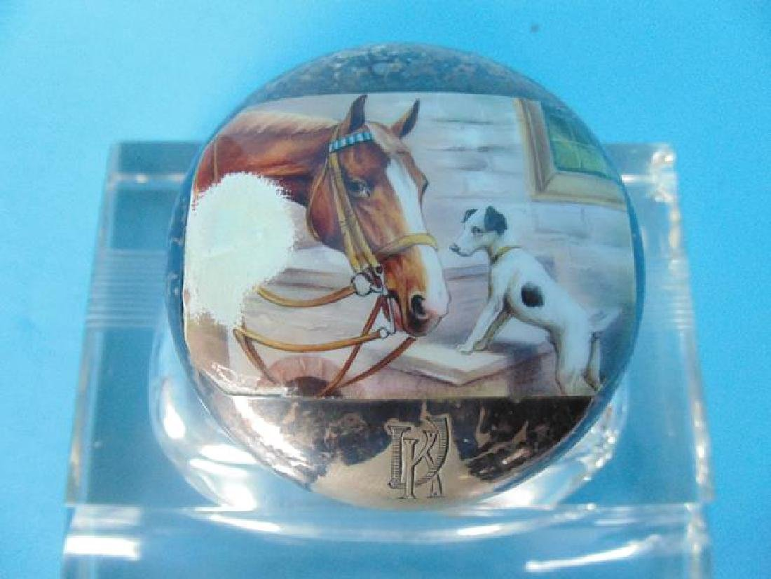 Glass Inkwell with Scenic Enameled Top